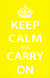 Keep Calm and Carry On (Motivational, Yellow) Art Poster Print Masterprint