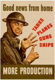 Good News from Home Tanks Planes Guns Ships More Production WWII War Propaganda Art Poster Photo