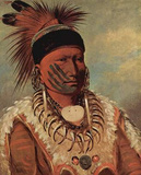 George Catlin (The white cloud, the chief of the Iowas) Art Poster Print Posters