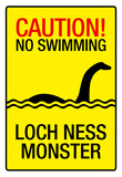 Caution Loch Ness Monster Sign Art Poster Print Prints