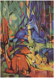 Franz Marc (Deer in the forest (II)) Art Poster Print Photo