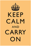 Keep Calm and Carry On (Motivational, Gold) Art Poster Print Photo
