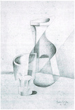 Juan Gris Caraffe and Glass Sketch Print Poster Posters