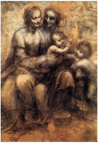 Da Vinci Mary Christ St.Anne and the Infant St.John Art Print Poster Photo