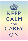 Keep Calm and Carry On Motivational Rainbow Art Print Poster Posters