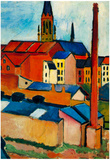 August Macke St. Mary's Church with Houses and Chimney Art Print Poster Prints
