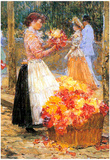 Childe Hassam Woman Sells Flowers Art Print Poster Posters