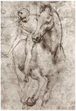 Leonardo da Vinci (Horse and rider) Art Poster Print Reprodukcje