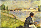 Georges Seurat Seated man Art Print Poster Posters
