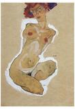 Egon Schiele (Squatting female nude) Art Poster Print Posters