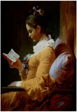 Jean-Honoré Fragonard (Reading woman) Art Poster Print Poster
