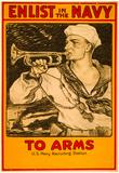 Enlist in the Navy War Propaganda Vintage Ad Poster Print Photo
