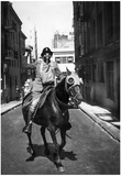 Man and Horse Wearing Gas Masks Archival Photo Poster Print Print