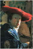 Johannes Vermeer Girl with Red Hat Art Print Poster Posters