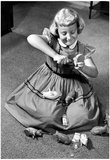 Girl With Piggy Banks Archival Photo Poster Posters