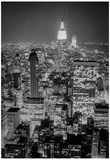 New York City Empire State Building Skyline at Night Archival Photo Poster Print Poster