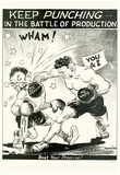 Keep Punching in the Battle of Production WWII War Propaganda Art Print Poster Posters