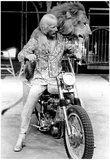 Lion and Tamer on Motorcycle 1977 Archival Photo Poster Kunstdrucke