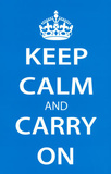Keep Calm and Carry On (Motivational, Light Blue) Art Poster Print Masterprint