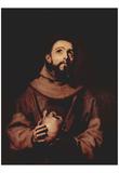 José de Ribera (St. Francis of Assisi) Art Poster Print Posters