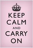 Keep Calm and Carry On (Motivational, Light Pink) Art Poster Print Posters