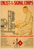 Enlist in Signal Corps Technical Education War Propaganda Vintage Ad Poster Print Prints