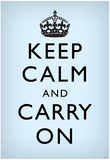Keep Calm and Carry On (Motivational, Faded Light Blue) Art Poster Print Posters