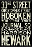 NY/NJ Path Train Stations Vintage Retro Metro Travel Poster Poster