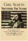 Girl Scouts Volunteers for Victory WWII War Propaganda Art Print Poster Posters