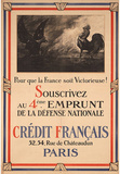 Emprunt de la Defense Nationale France War Bonds WWII War Propaganda Art Print Poster Masterprint