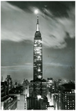 New York City Empire State Building at Night Archival Photo Poster Print Print