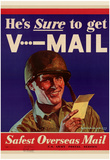 He's Sure to get V-Mail Safest Overseas Mail WWII War Propaganda Art Print Poster Photo