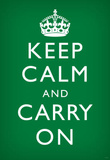 Keep Calm and Carry On (Motivational, Faded Green) Art Poster Print Masterprint