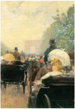 Childe Hassam Carriage Parade Art Print Poster Posters