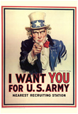 I Want You for U.S. Army Uncle Sam WWII War Propaganda Art Print Poster Posters