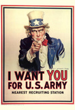 I Want You for U.S. Army Uncle Sam WWII War Propaganda Art Print Poster Masterprint
