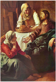 Jan Vermeer van Delft (Christ with Mary and Martha) Art Poster Print Print