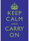 Keep Calm and Carry On Motivational Deep Blue Art Print Poster Masterprint