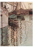 Egon Schiele (Sailboats in wellenbewegtem Water (The Port of Trieste)) Art Poster Print Photo