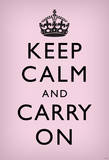 Keep Calm and Carry On (Motivational, Light Pink) Art Poster Print Masterprint