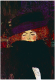 Gustav Klimt Lady with Hat and Feather Art Print Poster Posters