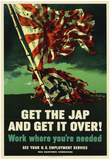 Get The Jap and Get It Over WWII War Propaganda Art Print Poster Print