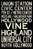 Los Angeles Metro Rail Stations Vintage Subway RetroMetro Travel Poster Masterprint