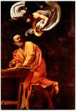Michelangelo Caravaggio St Matthew and the Angel Art Print Poster Plakater