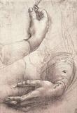 Leonardo da Vinci (Study of women's hands) Art Poster Print Masterprint