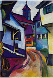 August Macke Street with a Church in Kandern Art Print Poster Posters