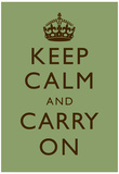 Keep Calm and Carry On Motivational Mint Green Art Print Poster Posters