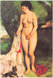 Pierre Auguste Renoir Bather with a Terrier Art Print Poster Prints