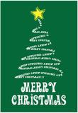 Merry Christmas (Tree) Art Poster Print Prints