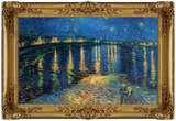 Starry Night Over the Rhone Poster with Gilded Faux Frame Border Masterprint